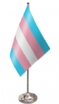 Transgender Pride (pink/blue) Desk / Table Flag with chrome stand and base